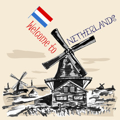 Traditional  Netherlands landscape with windmills