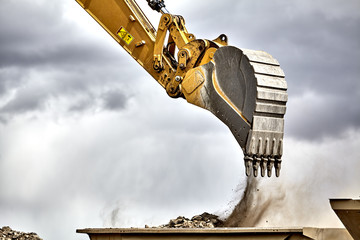 Construction industry excavator with portable quarry machine clo Wall mural
