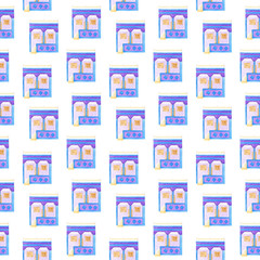 Old colorful house. Seamless watercolor pattern