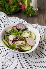 spring salad of radishes, cucumbers