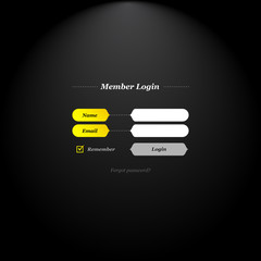 Member login form with trendy fields and buttons shapes