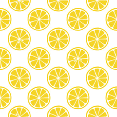Seamless pattern with lemons on the white background. Vector illustration.