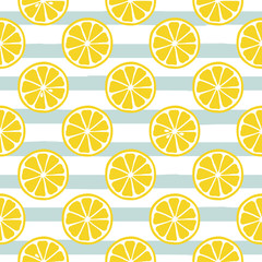 Cute yellow lemon slices on striped blue background. Vector illustration.