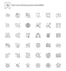 36 linear icons of of business process and workflow for web and