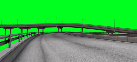 City Autobahn Highway on a Greenscreen for a easy cutout