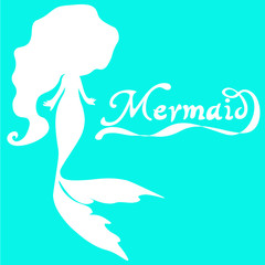 cute fairy swimming mermaid with long curly hair silhouette vector illustration of white on a  turquoise  background  with the words mermaid