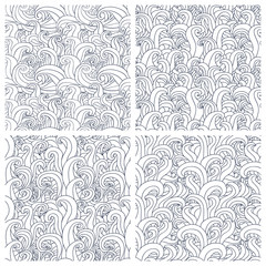 Set of four seamless pattern with abstract doodle waves.