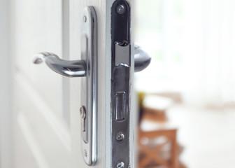 Part of door with silver door-handle