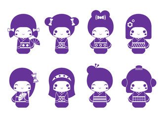Vector graphic set of Japanese kokeshi dolls