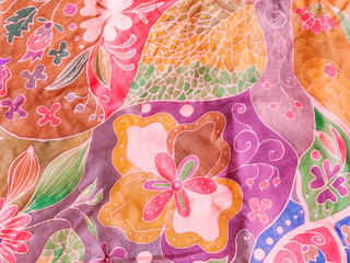 abstract leaves and flowers on pink purple batik