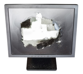 front above view of monitor with damaged screen