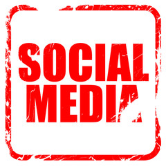 social media, red rubber stamp with grunge edges