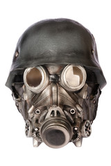 Military Helmet with Goggles and Gas Mask
