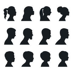 Black silhouette people