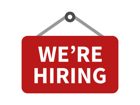Red we're / we are now hiring sign flat icon for apps and websites