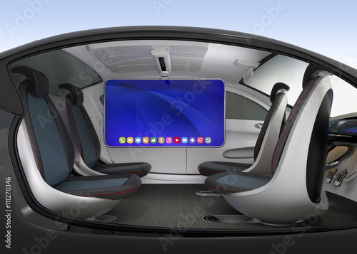 autonomous car interior concept ceiling mounted monitor help business man have video meeting. Black Bedroom Furniture Sets. Home Design Ideas