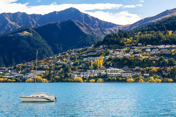 Lake Wakatipu in Queenstown, New Zealand.