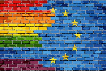 Flags Of Gay Pride And The Europe connected - Illustration,