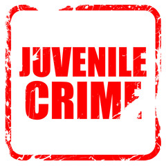 juvenile crime, red rubber stamp with grunge edges