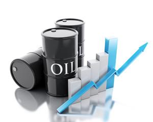 3d Three barrels of oil. Business concept.