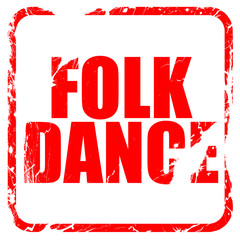 folk dance, red rubber stamp with grunge edges