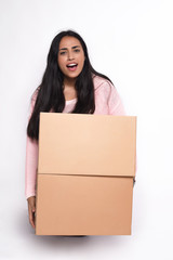 Woman with cardboard boxes