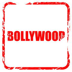 bollywood, red rubber stamp with grunge edges