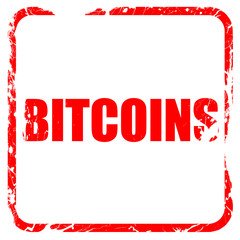 bitcoins, red rubber stamp with grunge edges