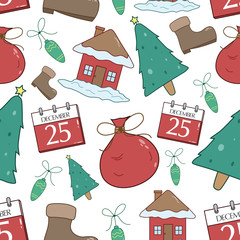 Seamless Pattern Of Christmas Icons Or Elements With Tree, Calendar, And House
