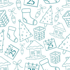 Seamless Pattern Of Cute Christmas Icons With Outline On White Background