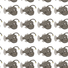 Seamless Pattern Of Funny Angler Fish Or Monkfish On White Background
