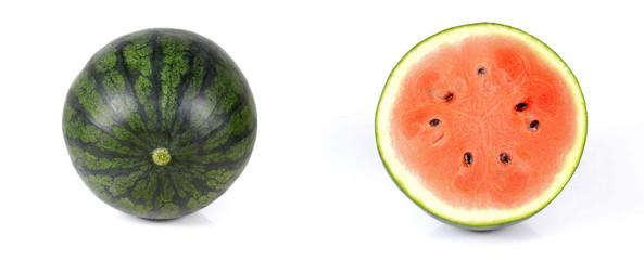 Watermelon full ball and cut half on white background.