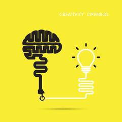 Creativity brain opening concept.Creative brain abstract vector