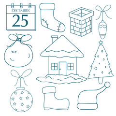 Set Of Christmas Elements Or Icons With Outline And Doodle Style