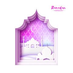 Pink White Origami Mosque Window Ramadan Kareem Greeting card with arabic arabesque pattern.Desert Landscape.Holy month of muslim.Symbol of Islam.Crescent Moon
