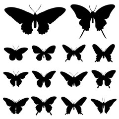 Butterfly silhouette illustration vector set