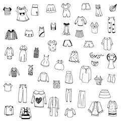 clothes sketch vector set of free hand drawing