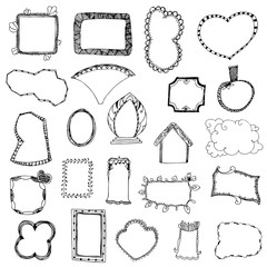 picture frame drawing designs vector set on white isolated
