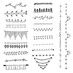 Ornamental lines and stripes doodle of free hand drawing sketch vector