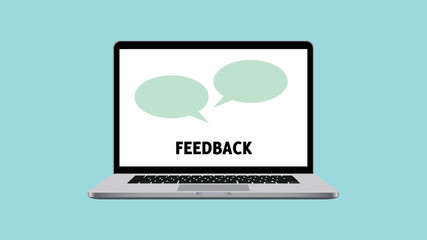 feedback survey with laptop and box comment vector graphic illustration