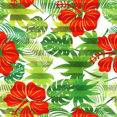 Seamless striped vector pattern tropical leaves, hibiscus