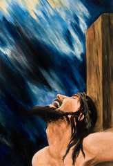 Oil painting. Christ's crucifixion