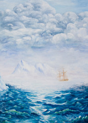 Oil painting on canvas.Sailboat among ice rocks