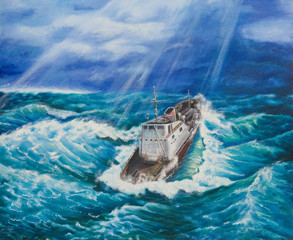 Oil painting on canvas.Ship in a stormy sea