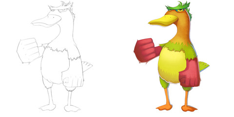 Coloring Book and Monster Creature Character Design Set 6: Determined Peacock Duck isolated on White Background. Realistic Fantastic Cartoon Style Character Design, Story, Card, Sticker Design