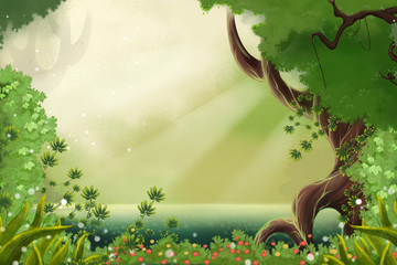 Watercolor Style Digital Artwork: The Sunlight Near Forest River Sides. Realistic Fantastic Cartoon Style Character, Background, Wallpaper, Story, Card Design