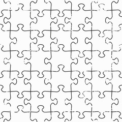 monochrome puzzle seamless texture with grunge effect