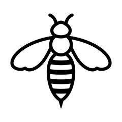 Honey bee or wasp line art icon for apps and websites