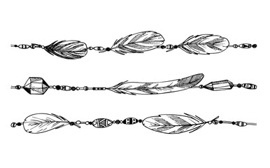 Hand drawn illustration - feathers and beads. Tribal design elem