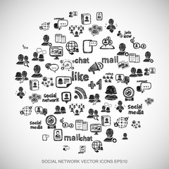 Black doodles Hand Drawn Social Network Icons set on White. EPS10 vector illustration.